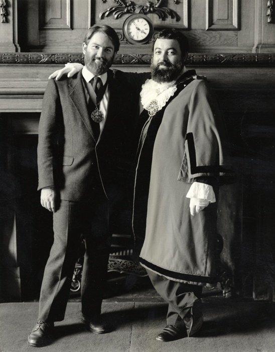 Islington Mayor Bob Crossman 1986/7 and Consort Martin McGloghry. #IslingtonsPride #LGBTHM20