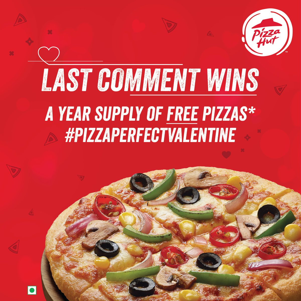 Stop scrolling & start commenting to win a year's supply of free pizzas, this #ValentinesDay. FREE pizzas for you & your +1 is just a comment away! The secret timer goes off in the next 15 hours. #PizzaPerfectValentine #ContestAlert #GiveawayAlert   T&C - http://bit.ly/PizzaPerfectValentine…pic.twitter.com/zmaLx9T7XX