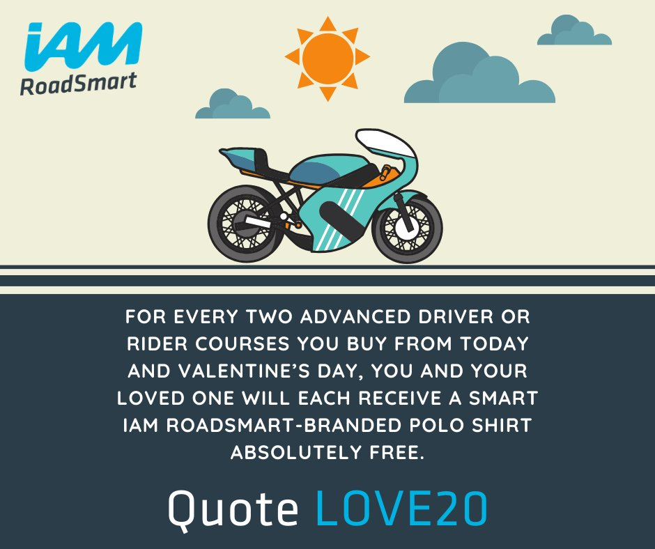 Make sure you take advantage of this limited-time offer by calling our dedicated customer hotline on 0300 303 1134 and quoting the reference LOVE20.   https://www.iamroadsmart.com/media-and-policy/newsroom/news-details/2020/02/07/things-are-better-when-done-together-start-your-iam-roadsmart-journey-this-valentine-s-day …  #ShareTheLove #LoveYourJourney #BetterTogetherpic.twitter.com/X9iVQYprxK