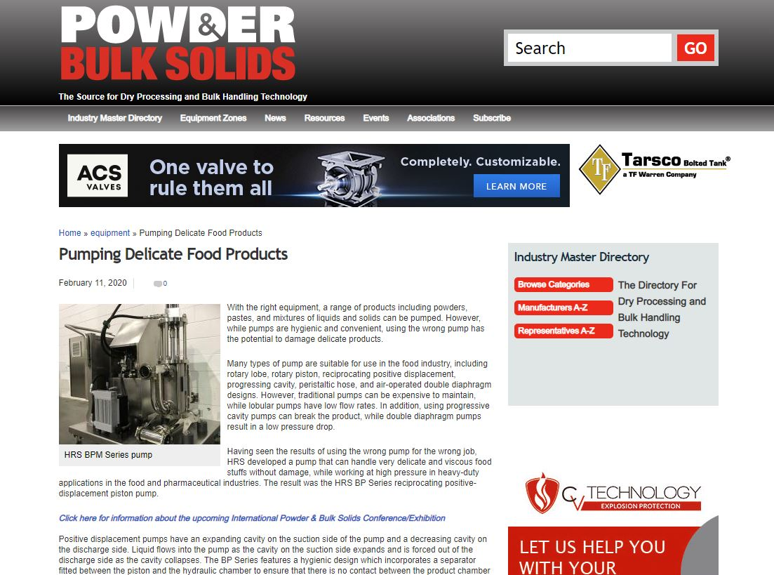 test Twitter Media - HRS is featured as well on @PowderBulkSolid on our pump system. With the right equipment, a range of products including powders, pastes, and mixtures of liquids and solids can be pumped. Read more: https://t.co/TL8c2gmghC #pumpsystems #foodprocessing https://t.co/Po9r1OGII0