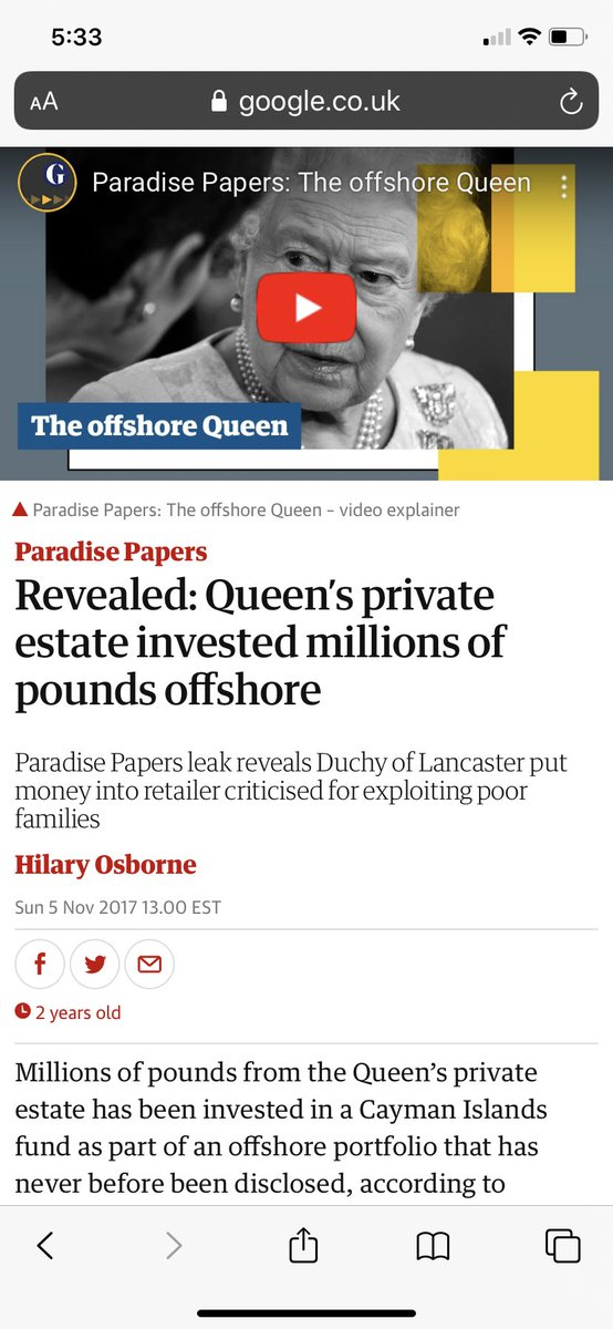 The Queen who uses offshore accounts? Did you have an issue with William when he worked with JP Morgan? I don't think so. You're just a bunch of racists with your faux outrage at anything Meghan & Harry do <br>http://pic.twitter.com/d7ho0HKNAn