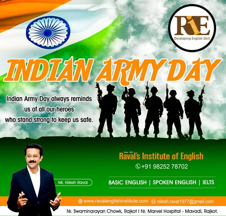 15th January 2020 - Indian Army Day !!R.I.E.(Raval's Institute of English) #ArmyDay #IndianArmy #NationFirst #ArmyDay2020 #IndianArmyDay