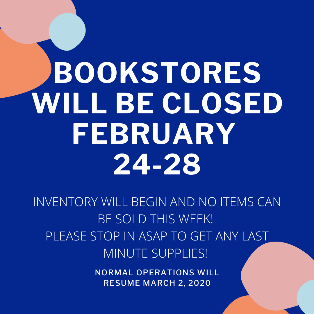 All campus bookstores will be closed from 2/24 through 2/28 for a full inventory. No merchandise will be sold during this time, so please stop in beforehand to get any last-minute supplies or merchandise! Regular hours will resume 3/10  #tcsg  #greatcareersbeginhere #LTCpic.twitter.com/knLacOfMt5