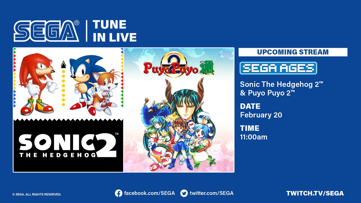 Sega On Twitter Sega Ages Sonic The Hedgehog 2 And Puyo Puyo 2 Hit The Nintendo Switch February 20 And We Re Hosting A Special Livestream To Celebrate Join Us On Launch Day