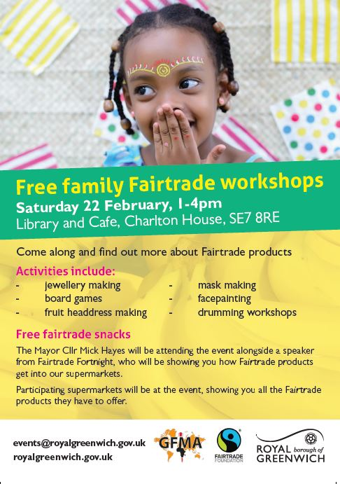 🔔 Event of the day! 🔔 Come and learn how to make fruit headdresses and snack on some #fairtrade products!🍉 #gm_t #FairtradeFortnight #SheDeserves 📍 @charlton_house 🗓️ 22 Feb, 1-4pm royalgreenwich.gov.uk/fairtradeworks…