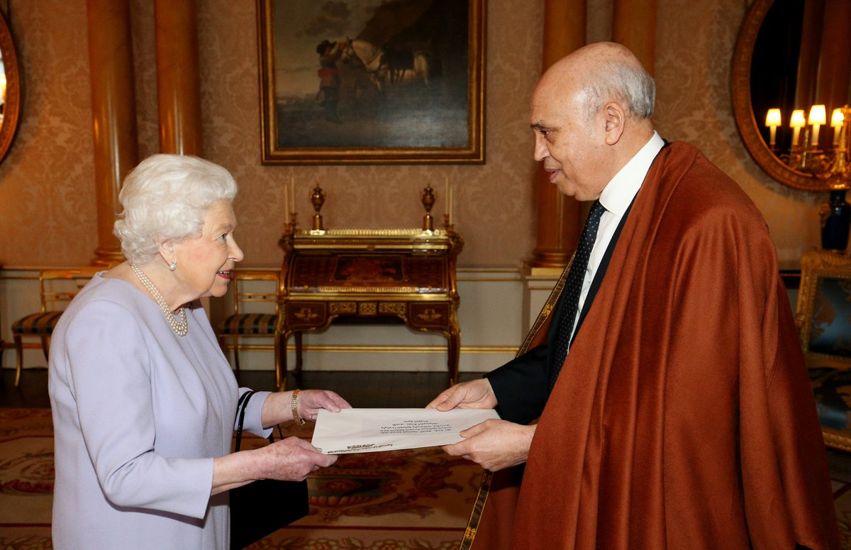 Today The Queen held audiences with newly-appointed Ambassadors to the Court of St James's.   His Excellency Mr. Abderrahmane Benguerrah, Ambassador from the People's Democratic Republic of Algeria.   His Excellency Mr. Andrei Kelin, Ambassador from the Russian Federation. <br>http://pic.twitter.com/hbzbfOAFLG