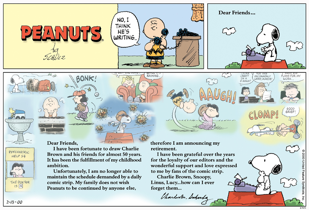 Today marks the 20th anniversary of the final Peanuts Sunday strip which appeared in newspapers around the world on February 13, 2000, the day after Charles Schulz passed away at his Santa Rosa home. His legacy lives on through his fans and the love of Peanuts.