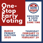 The One-Stop Early Voting period for the March 3 primary election is Feb. 13 to Feb. 29.   Look up the one-stop locations in your county where you can register AND vote on the same day here: https://t.co/3v0CvMSWym #ncpol #voteearly