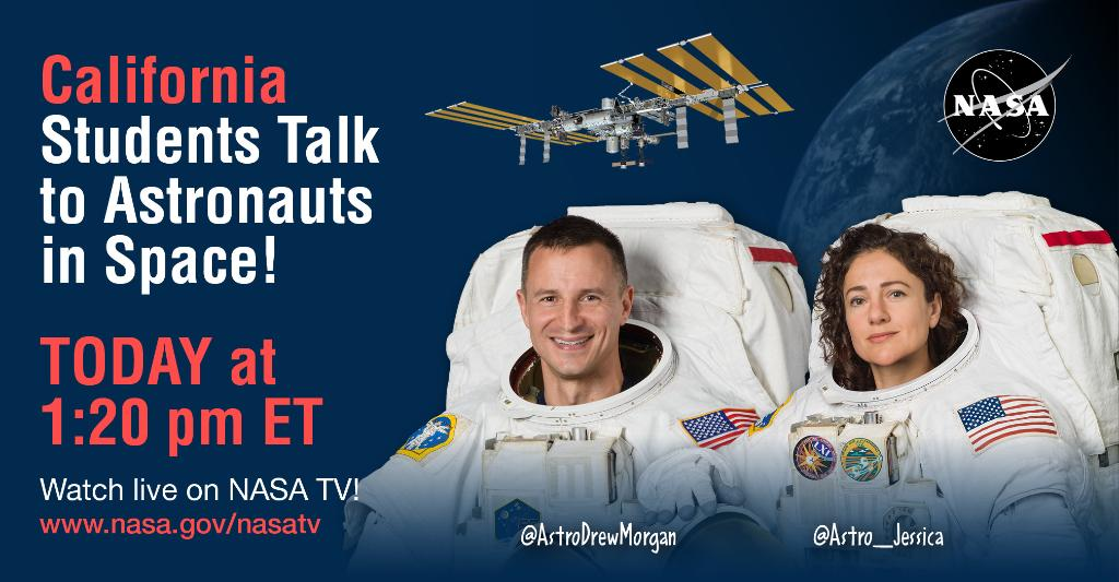 TODAY: @AstroDrewMorgan & @Astro_Jessica will inspire the #Artemis Generation at @AVUSD in California during a live 🌎Earth-to-space phone 📞call! Tune into @NASA TV at 1:20pm ET to learn what it's like to live & work on the @Space_Station! http://www.nasa.gov/nasatv #STEMonStation