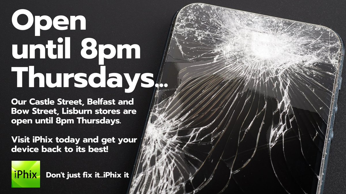 .@iPhix_NI OPEN until 8pm THURSDAYS! 30 Minute Express Repair!  No appointment necessary!  All Makes and Models repaired!  Lifetime Warranty on screen repair!   Click for Repair Prices - http://bit.ly/iPhixRepairPrices…  #BelfastHour #Nimbus #SupportLocal #DeviceRepair pic.twitter.com/Rja1KqbkCe