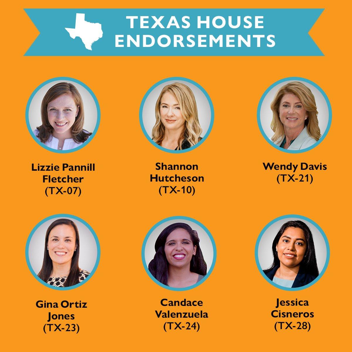 Texas is a key battleground state in 2020! We need to elect @JCisnerosTX, @wendydavis, @GinaOrtizJones, @Lizzie4Congress, @candacefor24, & @Shannon4Texas.