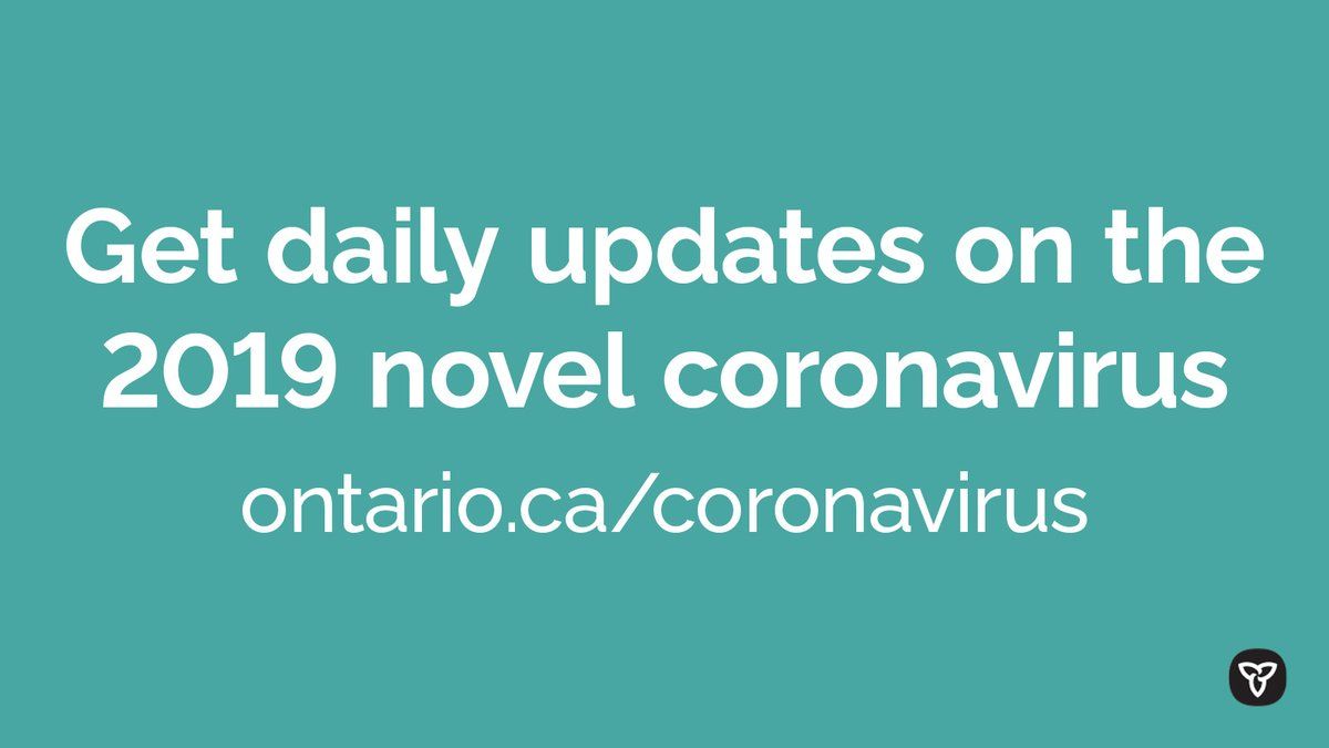 Visit our webpage for the latest and most up-to-date information on the 2019 novel #coronavirus (#COVID19) in Ontario. We will update the page every weekday at 10:30 a.m.: http://ontario.ca/coronavirus