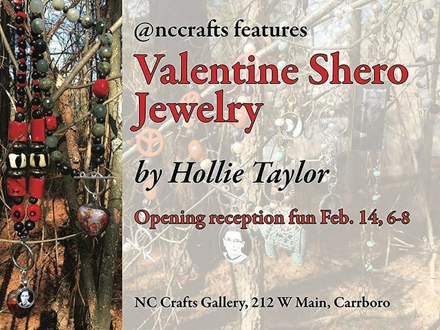 Valentine Shero Jewelry made just for you...wear your Shero to empower yourself and others. Opening night reception 6 to 8 pm on Fri., Feb. 14 @nccrafts in Carrboro, NC #wearyoursherochangeyourworld #feminist #feministart https://ift.tt/2SoAzKO pic.twitter.com/cqG8vPpido