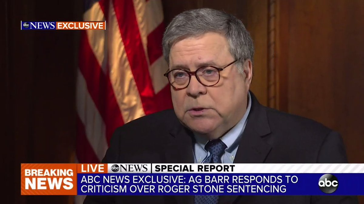 """""""I'm not going to be bullied or influenced by anybody….whether it's Congress, newspaper editorial boards, or the president,"""" Bill Barr tells @ABC News.  """"I cannot do my job here at the department with a constant background commentary that undercuts me."""""""