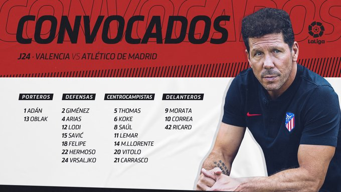 EQrA8oxWAAAo0rK?format=jpg&name=small Morata, Giménez y Arias vuelven a la convocatoria para jugar en Mestalla - Comunio-Biwenger