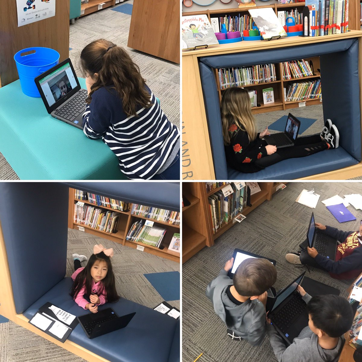 I love how our @Spradley_El 1st and 4th graders are using the library as a flexible space to work. #PISDLibrary