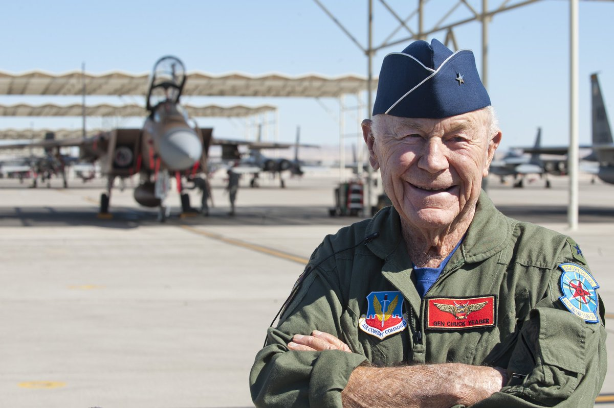 Ive always said that fighter pilots have ice in their veins and are best under pressure. @GenChuckYeager can still turn-and-burn with the best! Hes always had His Right Stuff for 97 years! Happy birthday, my friend! 🇺🇸