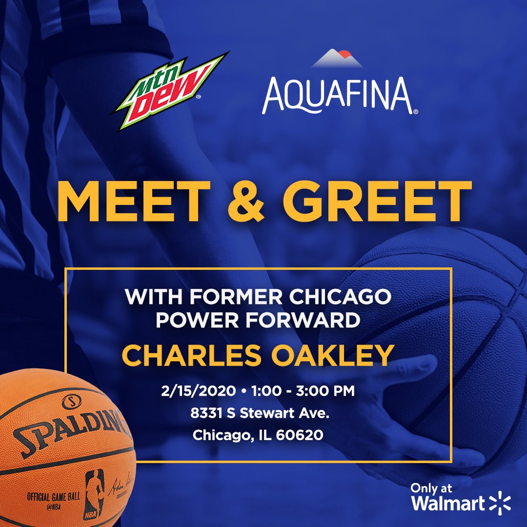 Join me at @Walmart in Chicago, IL with @aquafina and @mountaindew for an @NBAAllStar event. I will be signing autographs from 1PM – 3PM on 2/15. Stop by for an autograph, free samples and fun #NBAAllStar games!