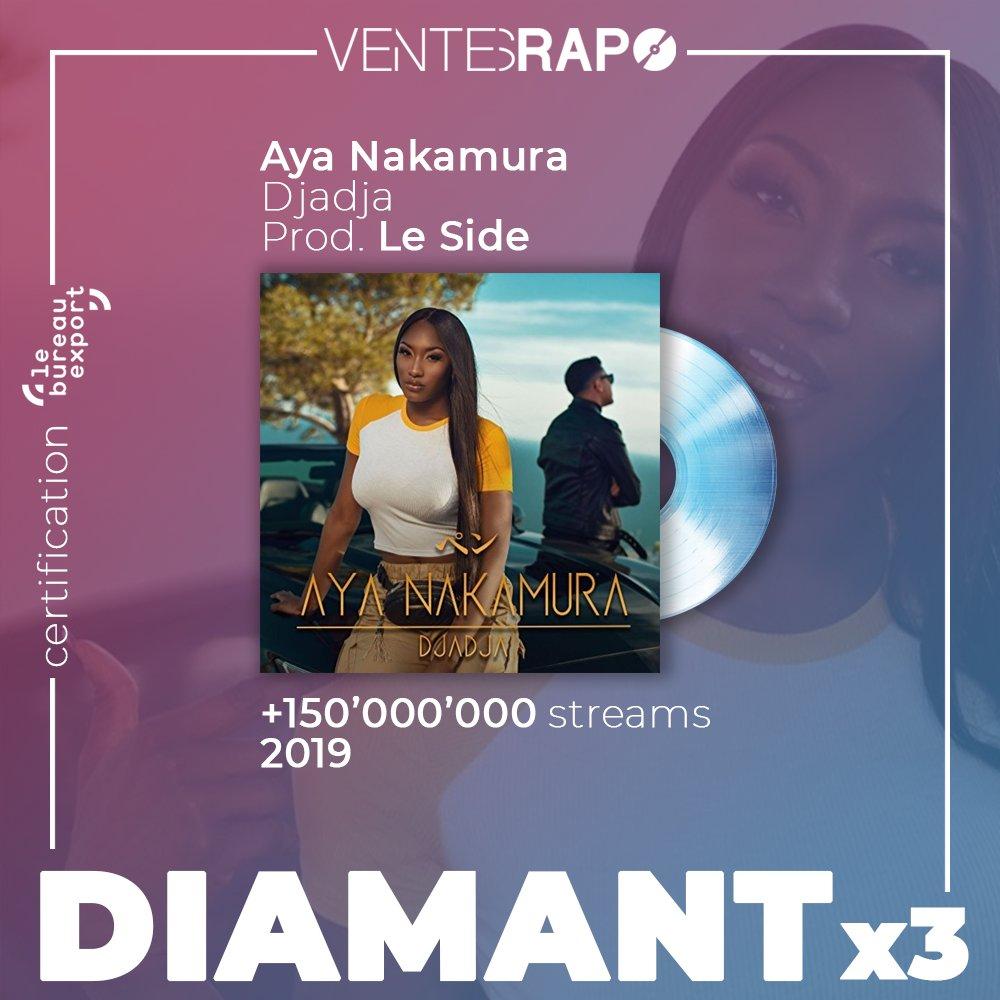 🌐 Le single #Djadja d'Aya Nakamura est certifié 3x diamant à l'export par le @bureauexport !  (168.699.500 équivalent streams à l'international) https://t.co/aTqm64HLK6