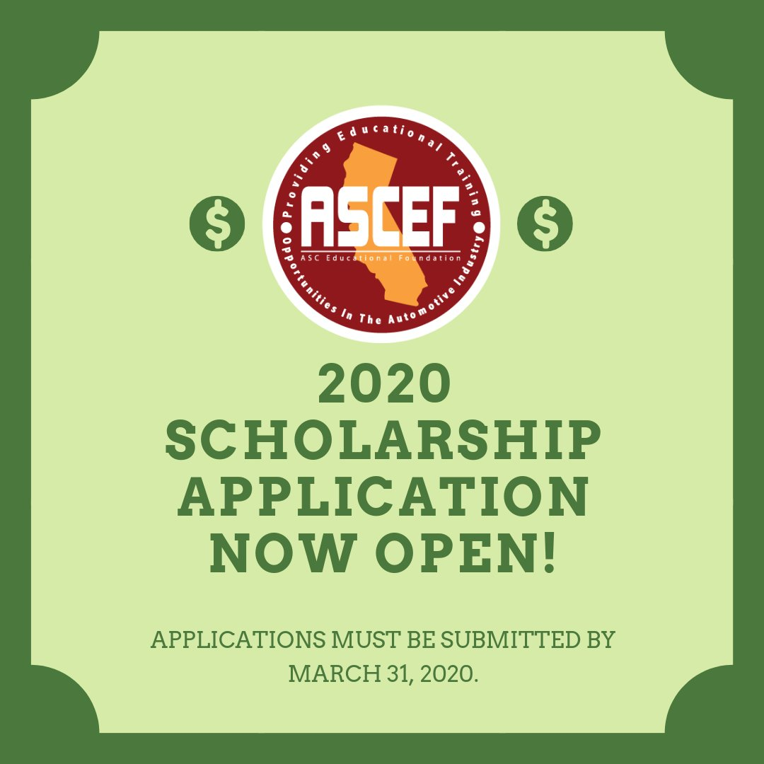 The ASC-EF 2020 scholarship application is now open for scholarships ranging from $500 - $1,000. These scholarships provide assistance to current under-graduates who are in the automotive service field. Learn more & apply today:  http:// ow.ly/9ODL50vPNP8      #AutomotiveEducation #ASCEF<br>http://pic.twitter.com/j0egBsgk3p