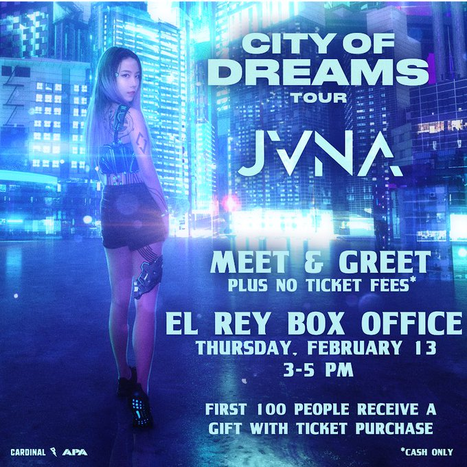 . @JVNA meet & greet at the box office today!  a few reminders: 🕒3-5pm 🎟️$20 CASH ONLY tickets to the Feb 29 show will be avail fee free!  💜
