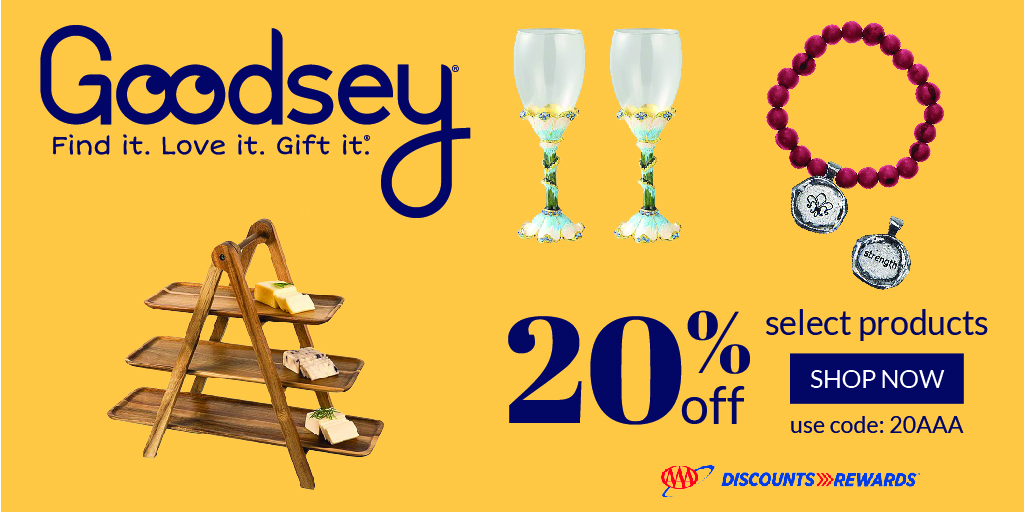 Hey AAA members! You can now use your #AAADiscounts @goodseyco to save 20% when you buy gifts for your favorite people. Use promo code 20AAA and spread smiles for miles.