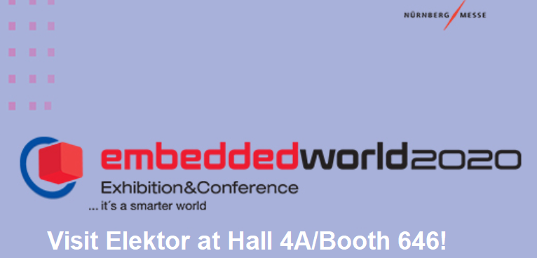 Visit with Elektor engineers, editors, and client managers at Embedded World 2020 (Feb 25-27)! Head over to Hall 4A, Booth 646. We'll have magazines, books, and electronics on display. https://www.elektormagazine.com/  #ew20 #embeddedsystems pic.twitter.com/eEahTbhoc1