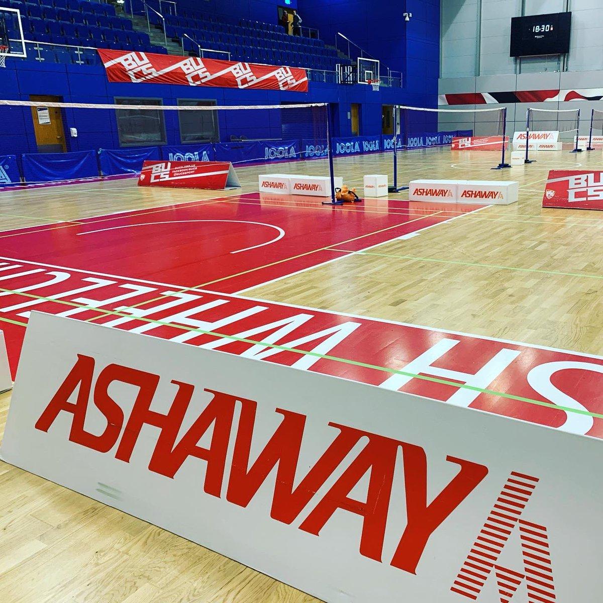 All set up for @BUCSsport nationals badminton championships! #badminton #badmintonplayer #badminton #badmintonlovers #badmintonlife #badmintontime #badmintonclub #badmintonlover #badmintonworld #badmintonracket #teamashaway #ashawaybadminton #ashawayracketpic.twitter.com/OdaluMzXny – at English Institute Of Sport
