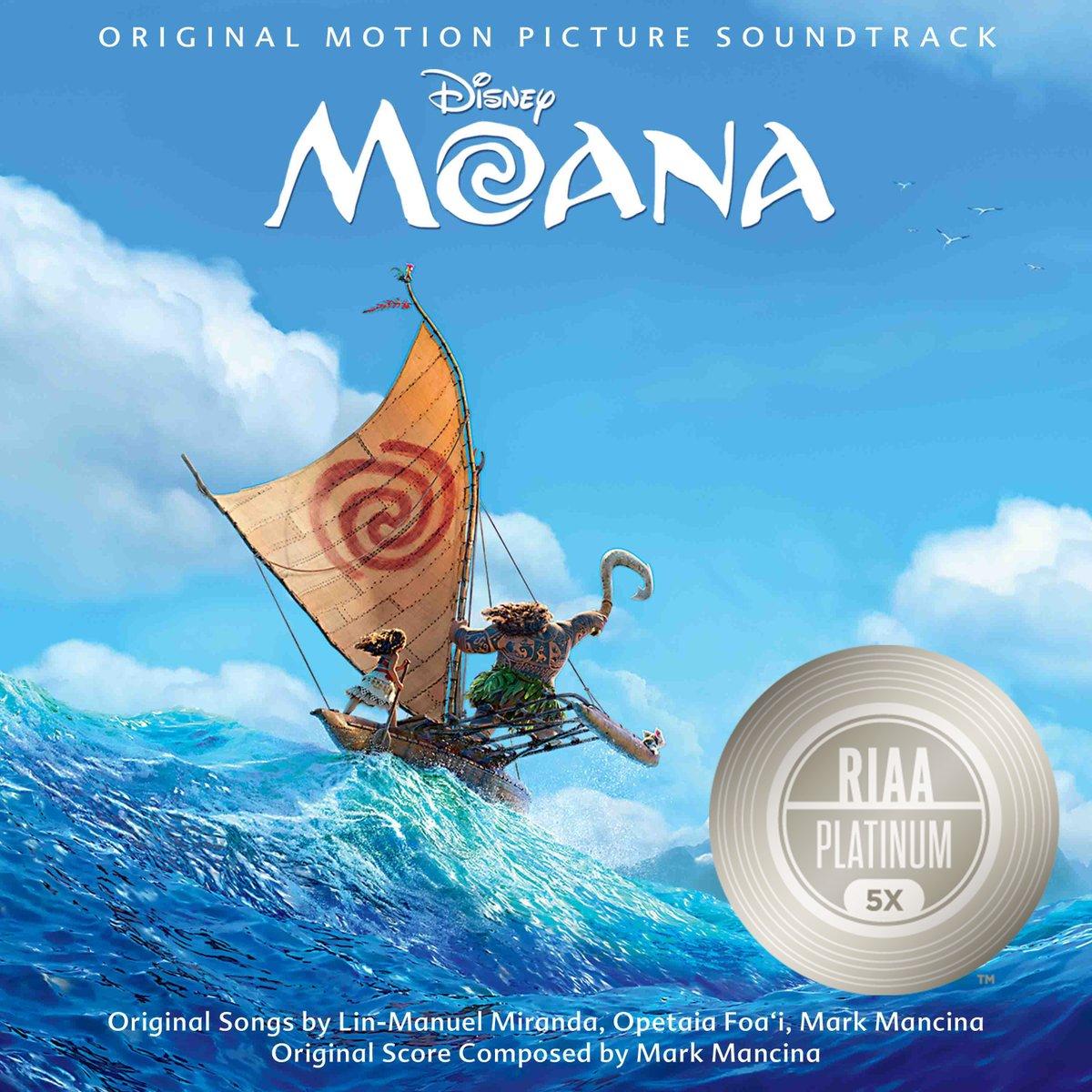 How Far Ill Go from Disneys #Moana is now @RIAA 5x PLATINUM!! 💿💿💿💿💿 Congratulations to @Lin_Manuel, @auliicravalho, and the @DisneyMoana team! 🎶 Listen now on the Disney Hits playlist: disneymusic.co/disneyhitsplay…