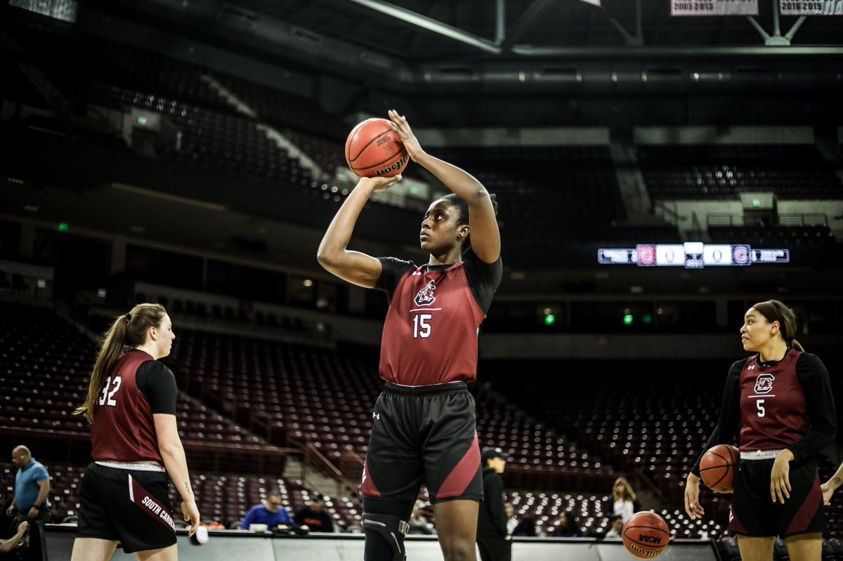 Shoot around ✅ Tipoff against Auburn at 7 PM #SCWomanUp