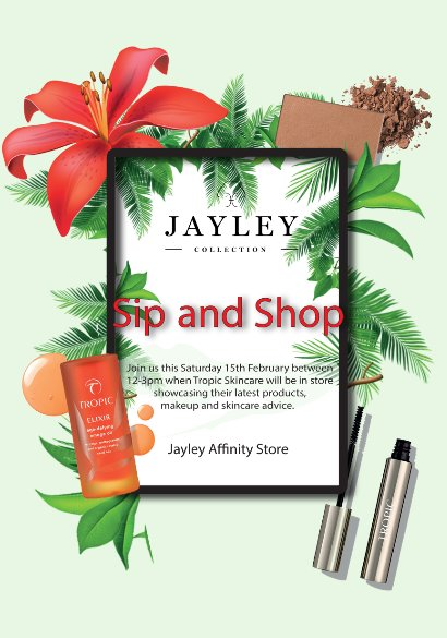 Get ready for the weekend with @JayleyOnline's NEW sip and shop experience this Saturday! 🥂  Treat yourself to a bit of bubbly at Jayley between 12-3pm on Saturday 15th February, check out @TropicSkincare's  pop up stall😍  Find out more 👉https://t.co/m4hZrBYC2J https://t.co/wyTI7QjoPj