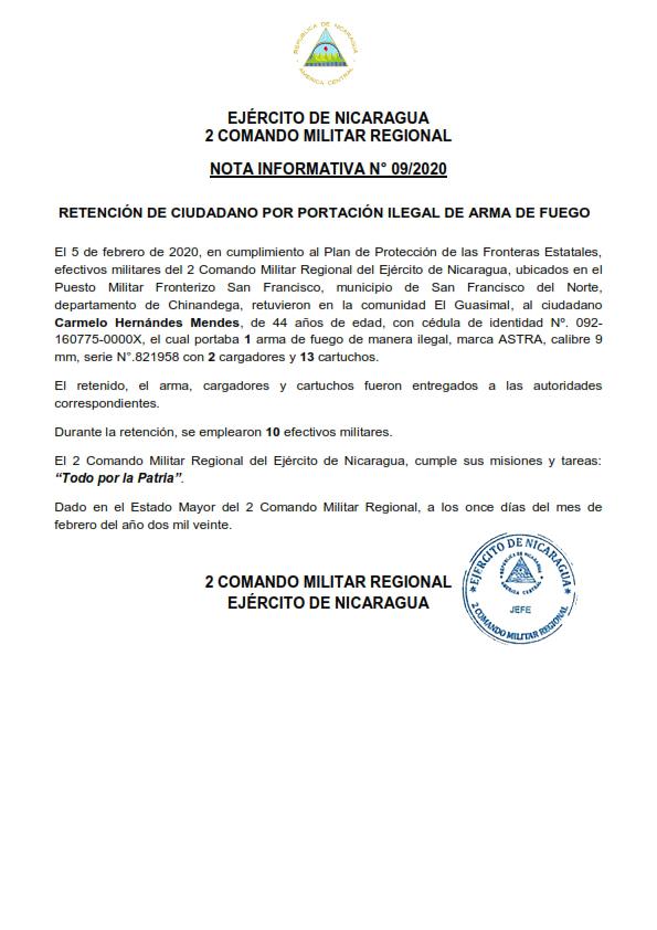 Ejército de Nicaragua retiene a ciudadano por portación ilegal de arma de fuego