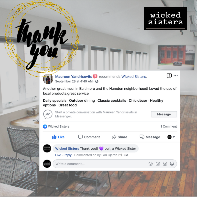 Thank you Maureen! We appreciate your kind words. #ThankYou #WeLoveOurGuests.  #WickedSisters #Baltimore #Hampden #BaltimoreFoodies #BaltimoreEats #CharmCityFoodie #BaltimoreFoodie #ForkYeah #CharmCity #WickedGood #Bmore #BmoreFoodies #GoodEats  #MyBmore #TheBmoreCreatives