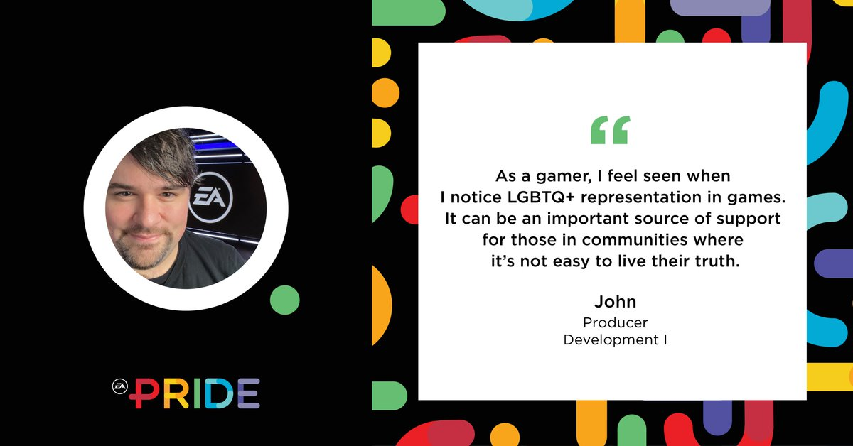 EA PRIDE Employee Resource Group member John highlights why representation for all communities in gaming is so important. #LGBT #LGBTQ #CEI2020 #WeAreEA #HumanRightsCampaign