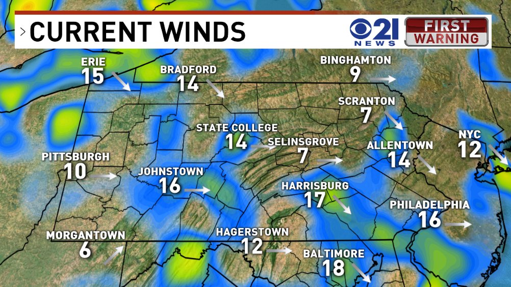 Windy and turning much colder tonight. Be ready to bundle up as you head out the door in the morning! #winter