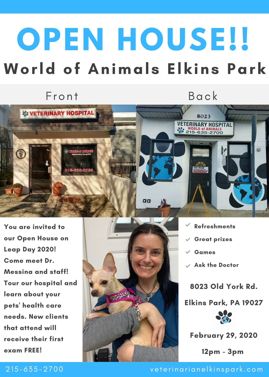 Our #ElkinsPark Location Is Have A #LeapYear 2020 #OpenHouse On February 29th From 12pm-3pm. Come Meet The Staff. Tour The #Hospital. New Clients Who Attend Will Receive Their First Exam FREE. #philly #veterinary #pets #pethealth #instagood #petcare #event https://vetsouthphiladelphia.com/pet-nutrition-vet/…pic.twitter.com/hIAB5HvJpF