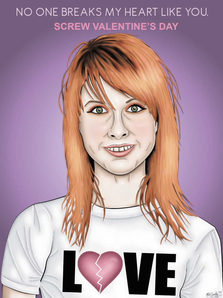 "6 of 6: Hayley Williams   Presenting the ""Love/Hate"" series. The 6th Emo-fied Valentine is now here!  #MelissaSanchezArt #art #ValentinesDay #HappyValentinesDay #valentine #emo #EmofiedValentines #emomusic #HayleyWilliams #Paramore  #artistsontwitter #disabledartist #emosnotdead"