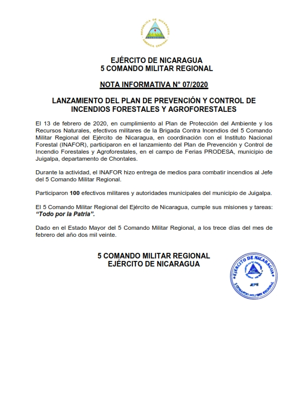 Ejército de Nicaragua participa en el lanzamiento del Plan de Prevención y Control de Incendio Forestales y Agroforestales en Juigalpa