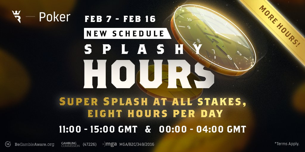 Come splash around on the tables in the next four hours for extra rakeback! #SplashyHours
