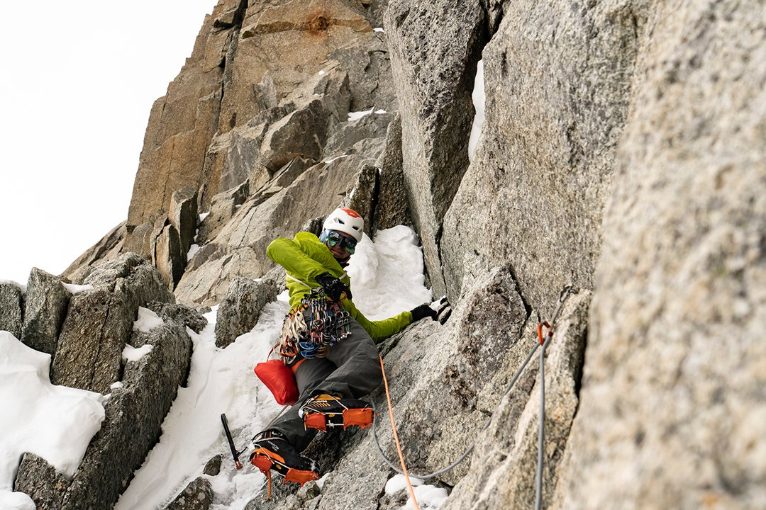 Colin Haley takes the Direct start to the Super Couloir on Mont Blanc du Tacul. Photo: Jason Thompson