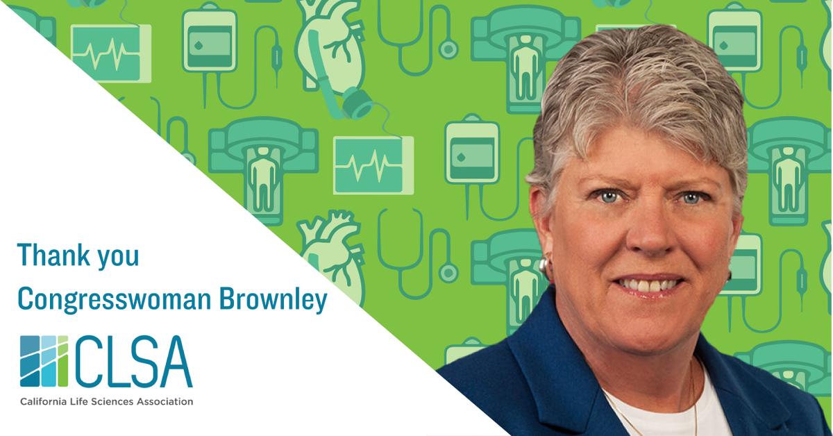 Thanks @RepBrownley for supporting patients & CA's innovative #medtech sector and working to repeal the #MedicalDeviceTax! #ProtectMedicalInnovation #RepealDeviceTax