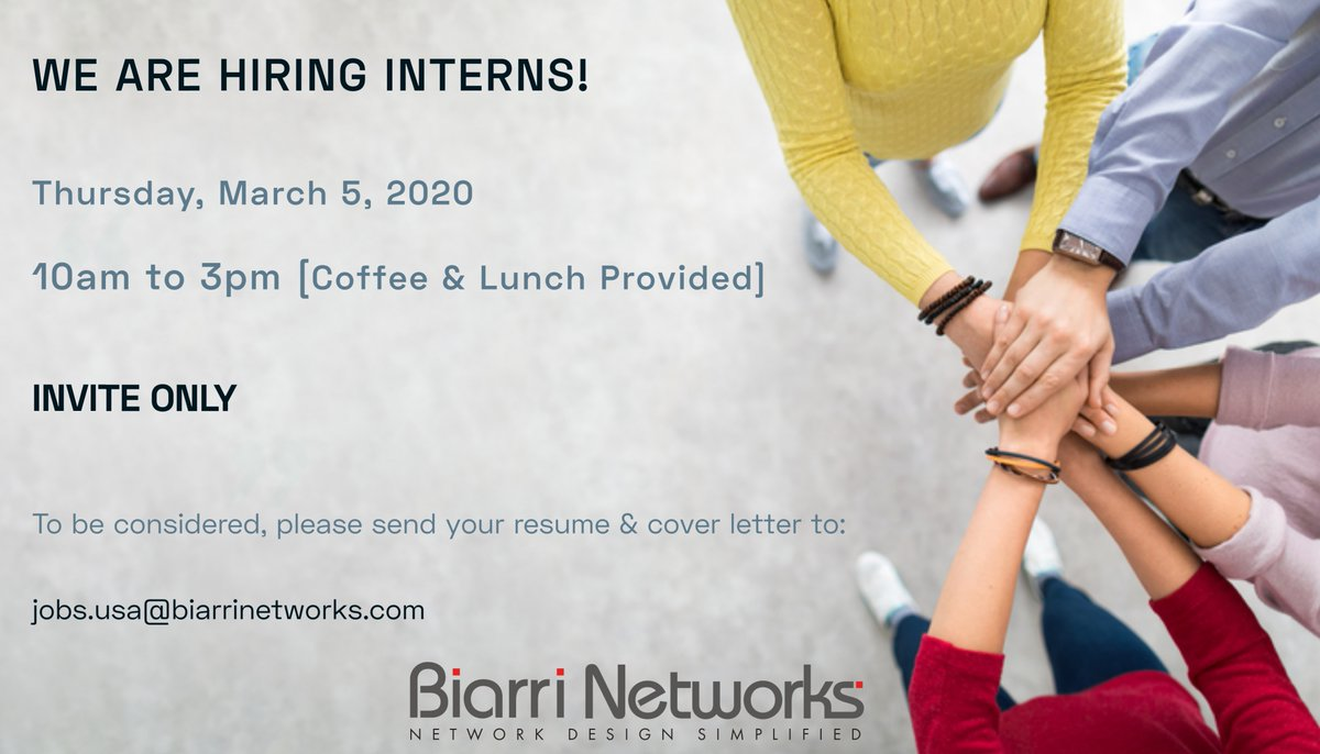 RT @BiarriNetworks: Are you looking to get started in a career at the intersection of tech and civil engineering?  Join us in Denver for this recruitment day. #engineeringcareers #internshipprogram #intern2020pic.twitter.com/mh3Cwtl4HE