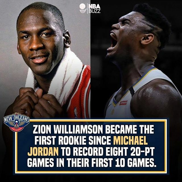 I'm convinced Zion is gonna be one of the greatest of all time. His rookie game is outstanding, similar to MJ himself at that time. 🏀💙 #foreverduke #dukebasketball #ballislife🏀 @zionwilliamson @dukembb @dukealumni @dukeuniversity @dukeathletics @peli…