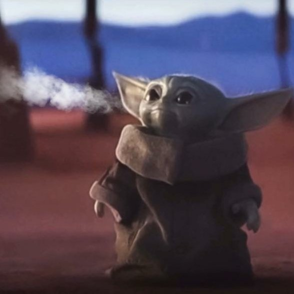 """""""Maybe I'm not verified because my #NewProfilePic is baby yoda vaping"""""""