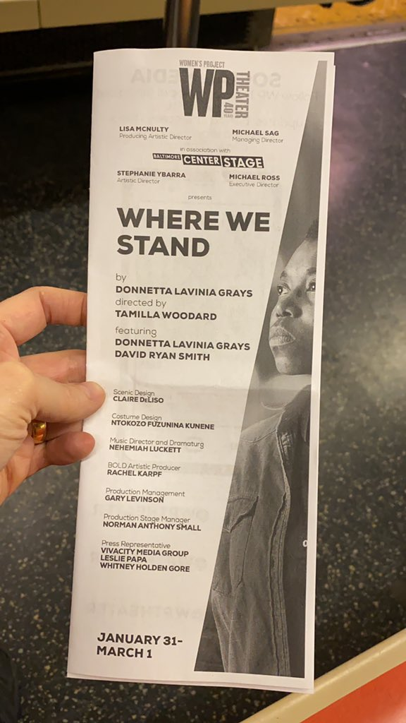 RUN don't walk to see #WhereWeStand brilliantly written & performed by @DonnettaLavinia & flawlessly directed by the supreme heart that is @TamillaW - about so much including gentrification & the Murder/Suicide that was the 2016 Election. It's at the wonderful @WPTheater thru 3/1 pic.twitter.com/WjxbNFHICS
