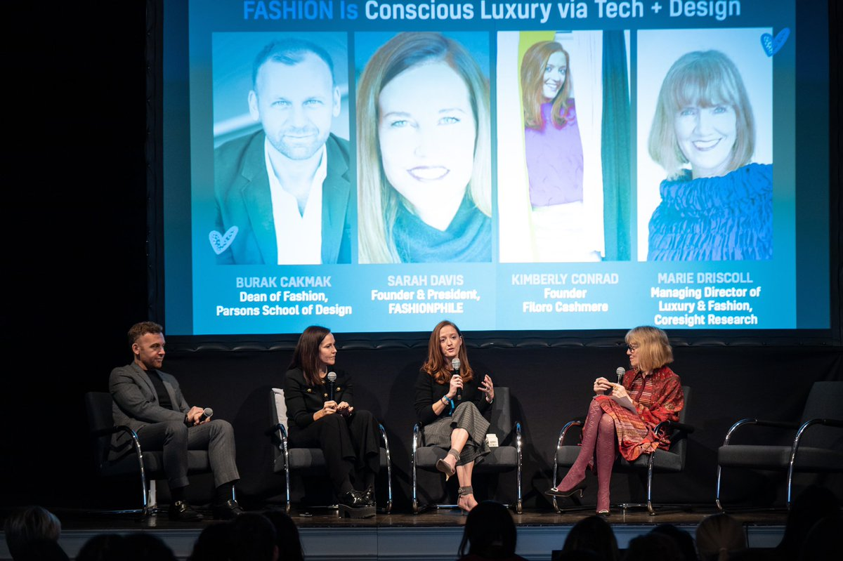 "What is fashion? Burak Cakmak from @Parsons_Fashion , Marie Driscoll from @CoresightNews, Kimberly Conrad from @Filorocashmere and Sarah Davis from @fashionphile gave a inspiring speech about ""Fashion is conscious luxury via tech and design"" at Fashionnavtion Winter Editionpic.twitter.com/kmuki6iK8X"