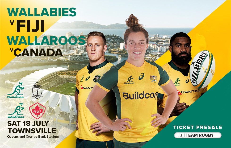 Townsville, the @Qantas #Wallabies are coming! #AUSvFIJ #GoldBlooded PRE-SALE: team.rugby MEDIA: wallaroos.rugby/news/2020/02/1…