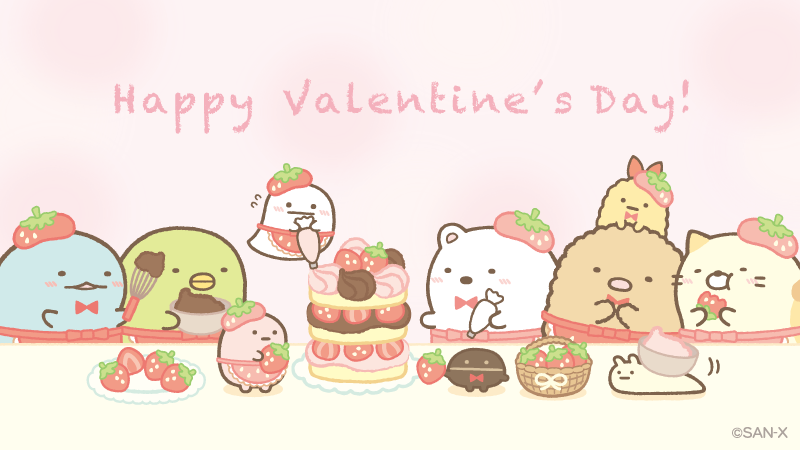 バレンタイン限定 スペシャルいちごチョコケーキ  みんなで作ったよ   #バレンタインデー #喫茶すみっコでいちごフェア