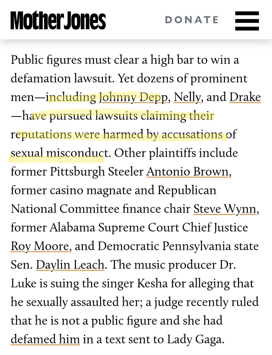@MeTooMVMT @MotherJones Your agenda is speaking loud & clear. Shame on the writer of this article for including Johnny Depp's name. He is suing Amber Heard because she defamed him in her Op-ed. Shame on you for continuing to try & twist the narrative to suit your agenda. #JusticeForJohnnyDepp