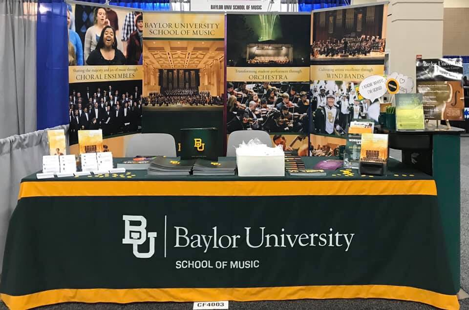 Come visit us at TMEA in the Exhibit Hall at booth CF4003! We would love to give you swag, chat, and tell you more about what's going on in the School of Music! #baylormusic pic.twitter.com/U42w8qhXl1